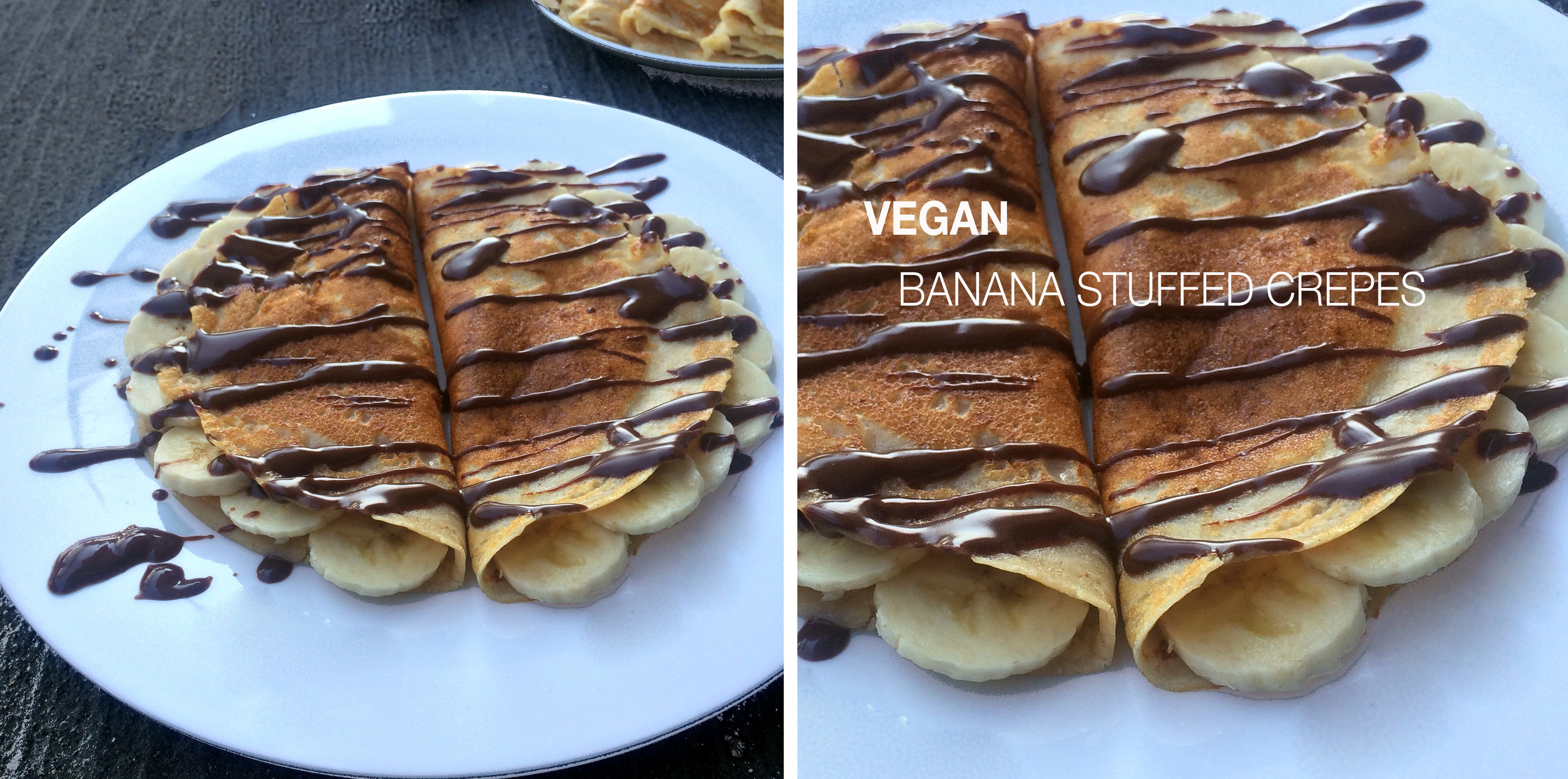 Banana stuffed vegan crepes