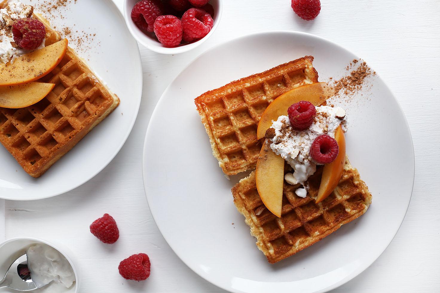 Fluffy Vegan Breakfast Waffles |vanillacrunnch.com