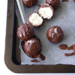 Easy vegan coconut bountys balls covered in chocolate