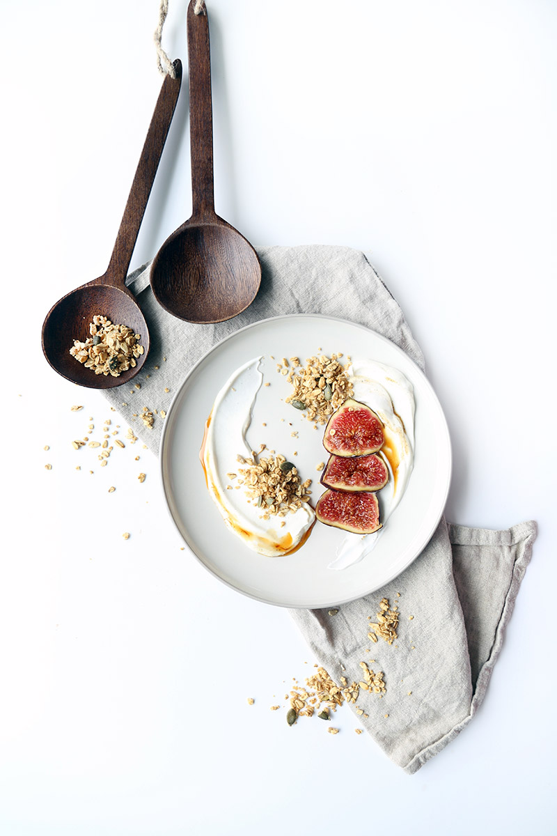 Nut-free maple granola with coconut yogurt and fresh figs