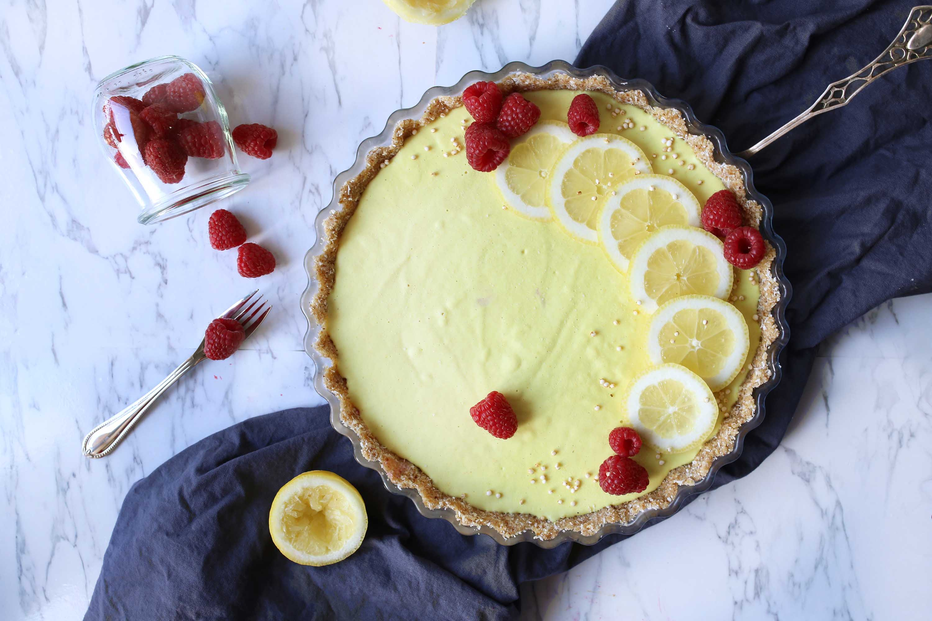 Summer Lemon-Raspberry Raw Cake with a coconut crust