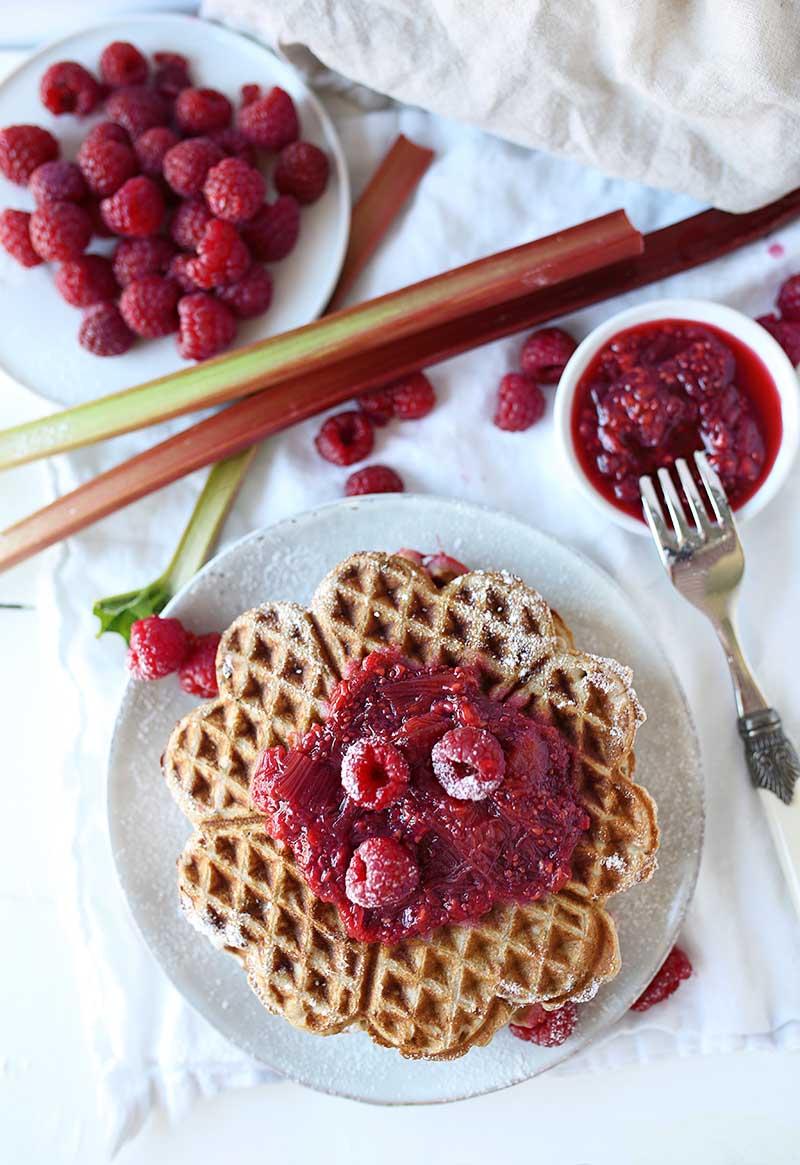 Vegan Buckwheat waffles with a rhubarb-raspberry compote ...