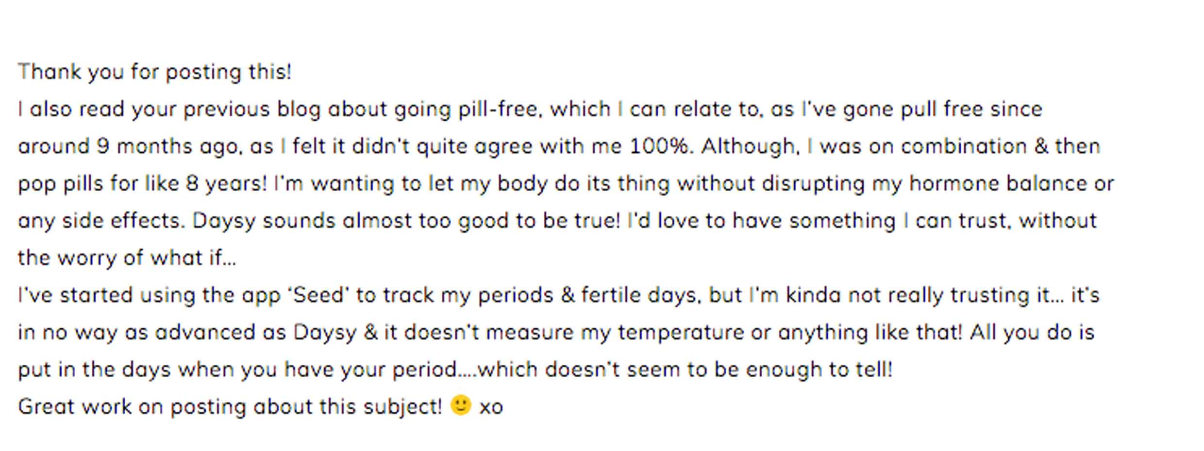 opinions about going hormone free