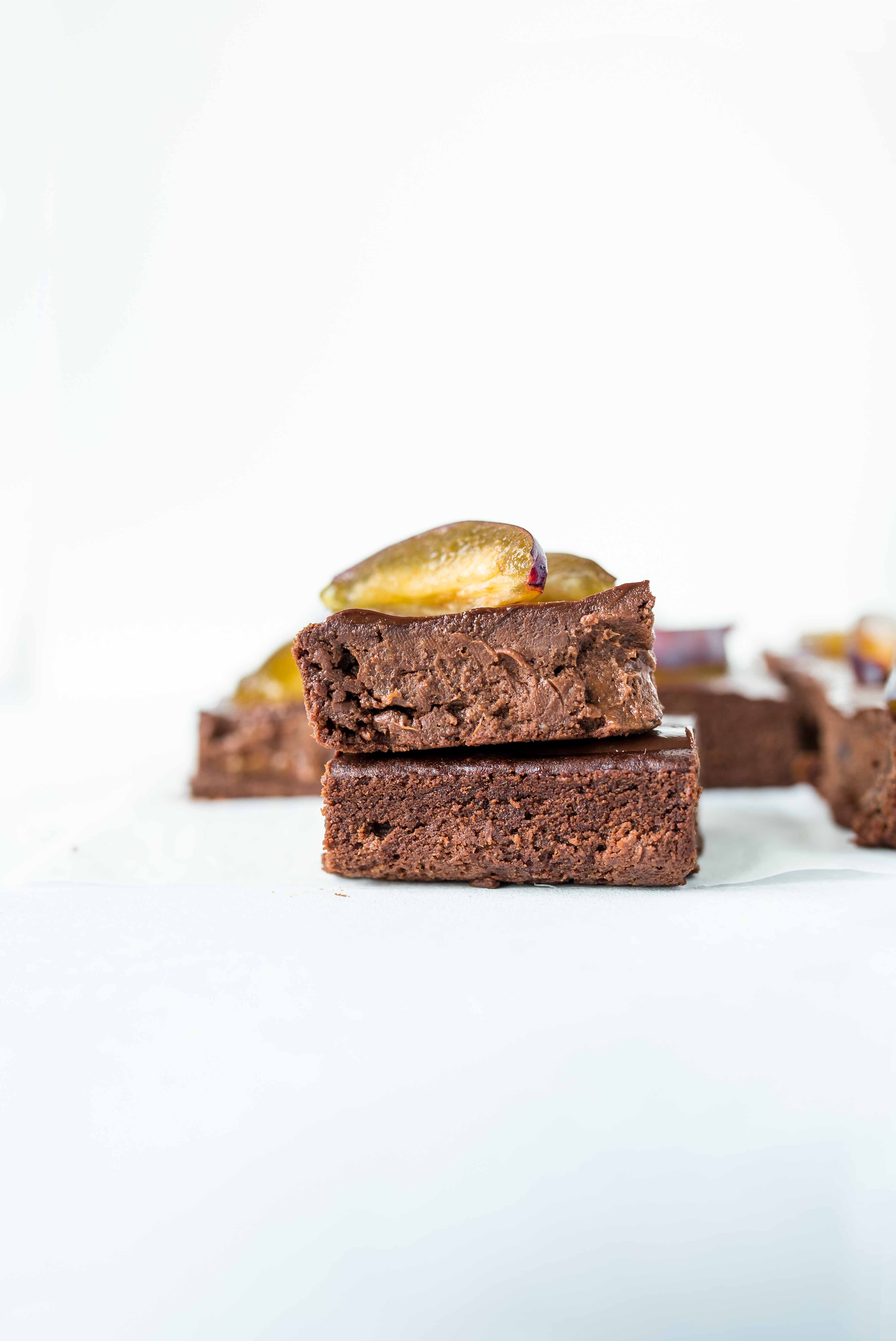 Gluten-free Vegan Plum Brownies