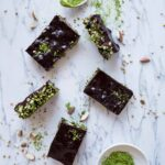 Gluten-free Matcha Energy Bars with raw chocolate