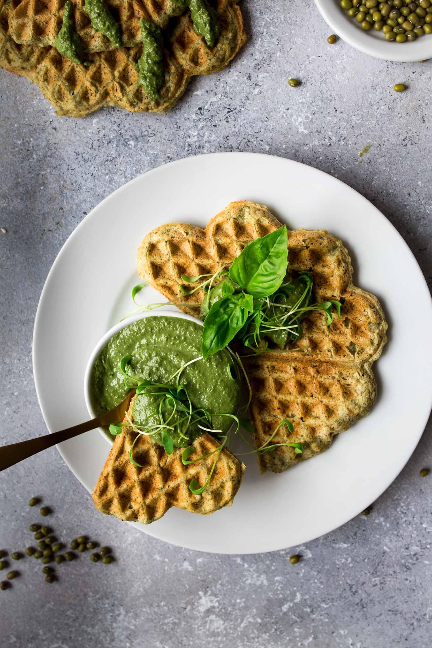 Savory Mungobean Waffles {high in protein}