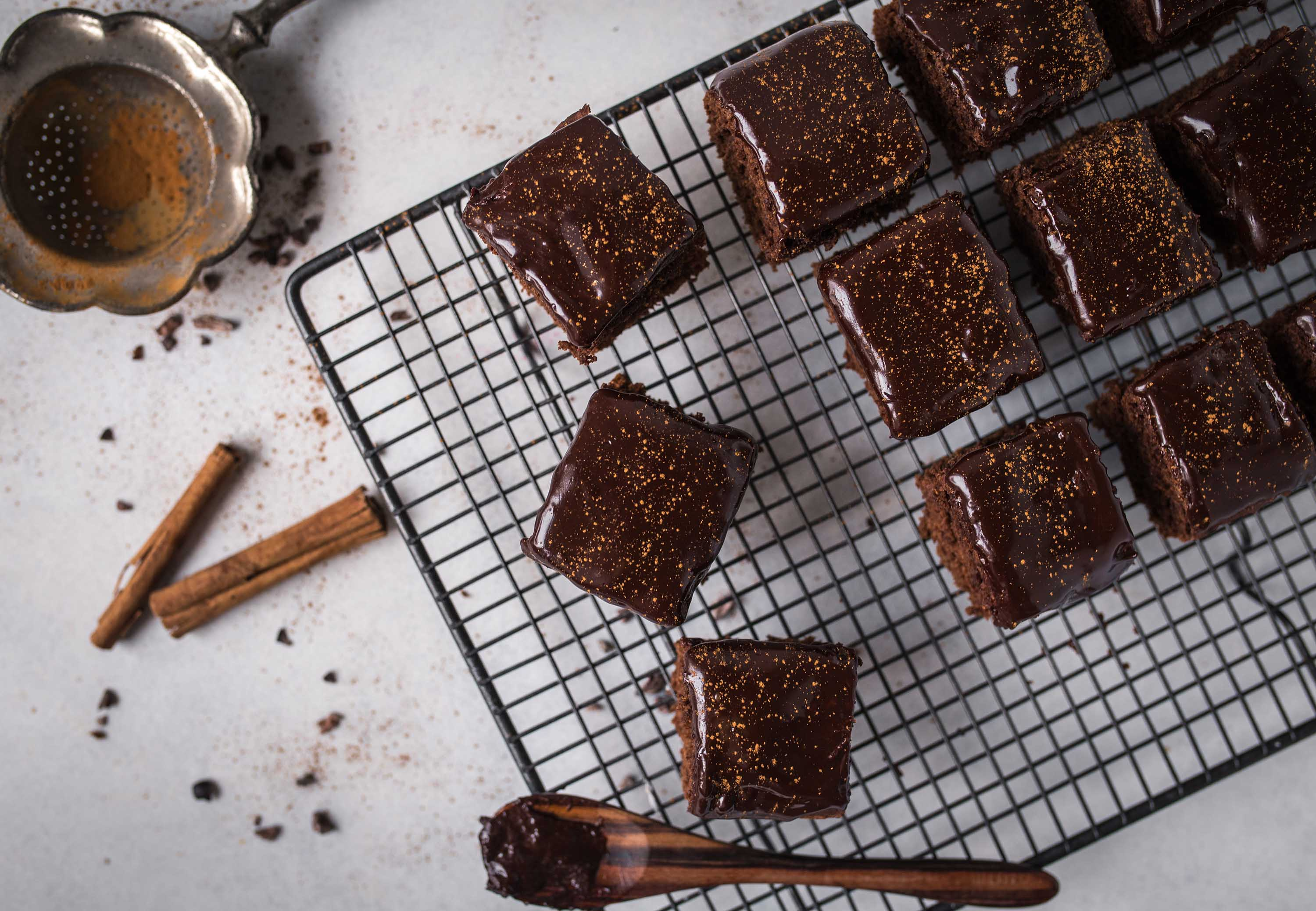 Gingerbread Brownies with a luscious dark chocolate glaze