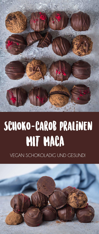 Vegane Schokoladen Carob Pralinen mit Maca