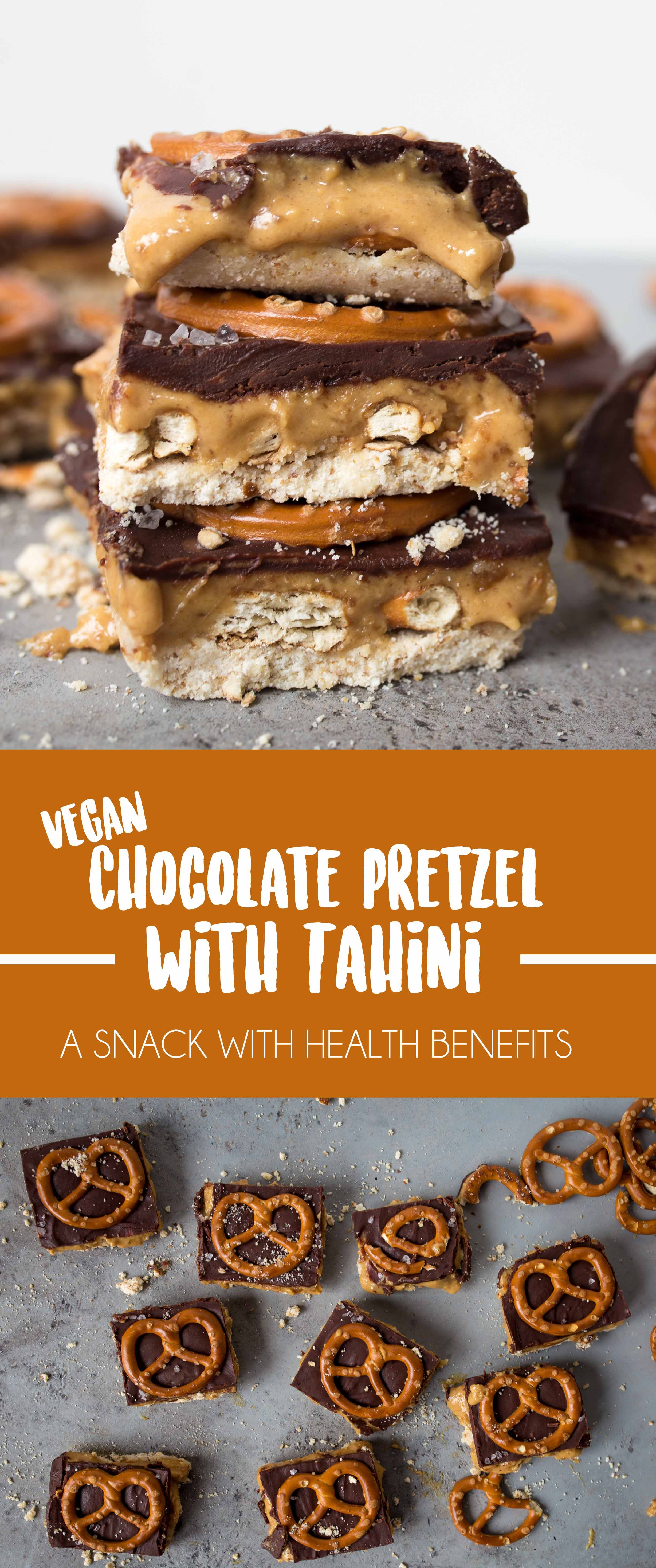 Chocolate coated Tahini Caramel Pretzel Bars