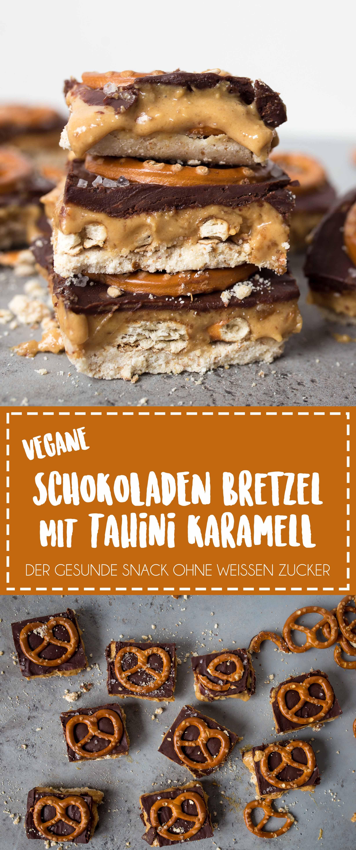 Vegane Bretzel Karamell Schokoladen Riegel