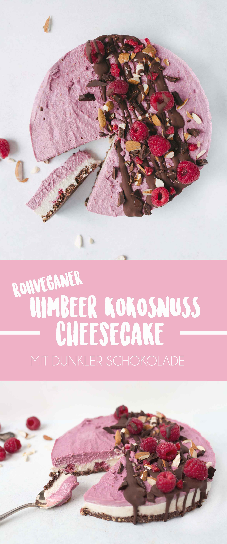Roh-Veganer Himbeer Kokos Kuchen