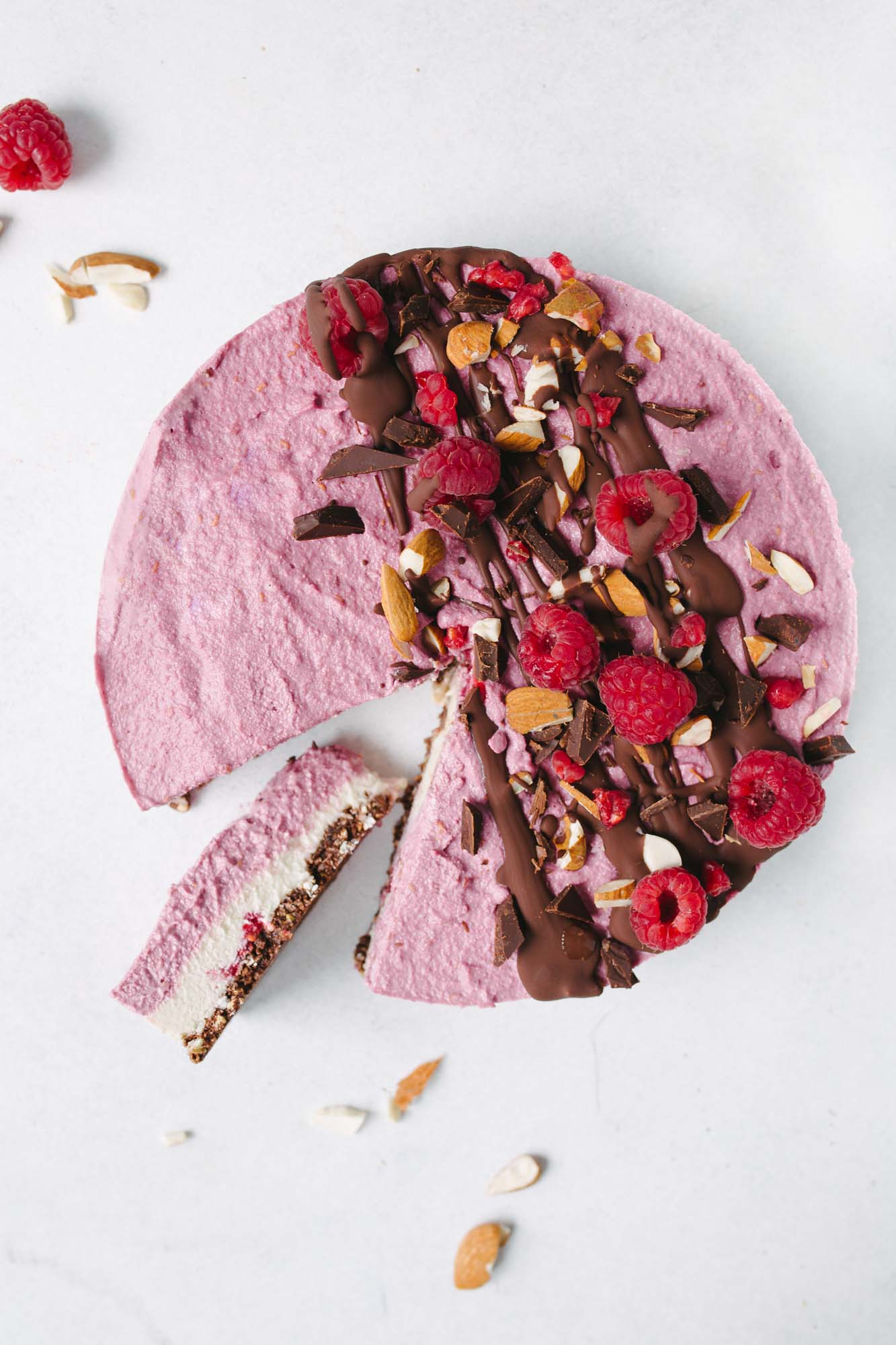 No-bake Raspberry Chocolate Cheesecake