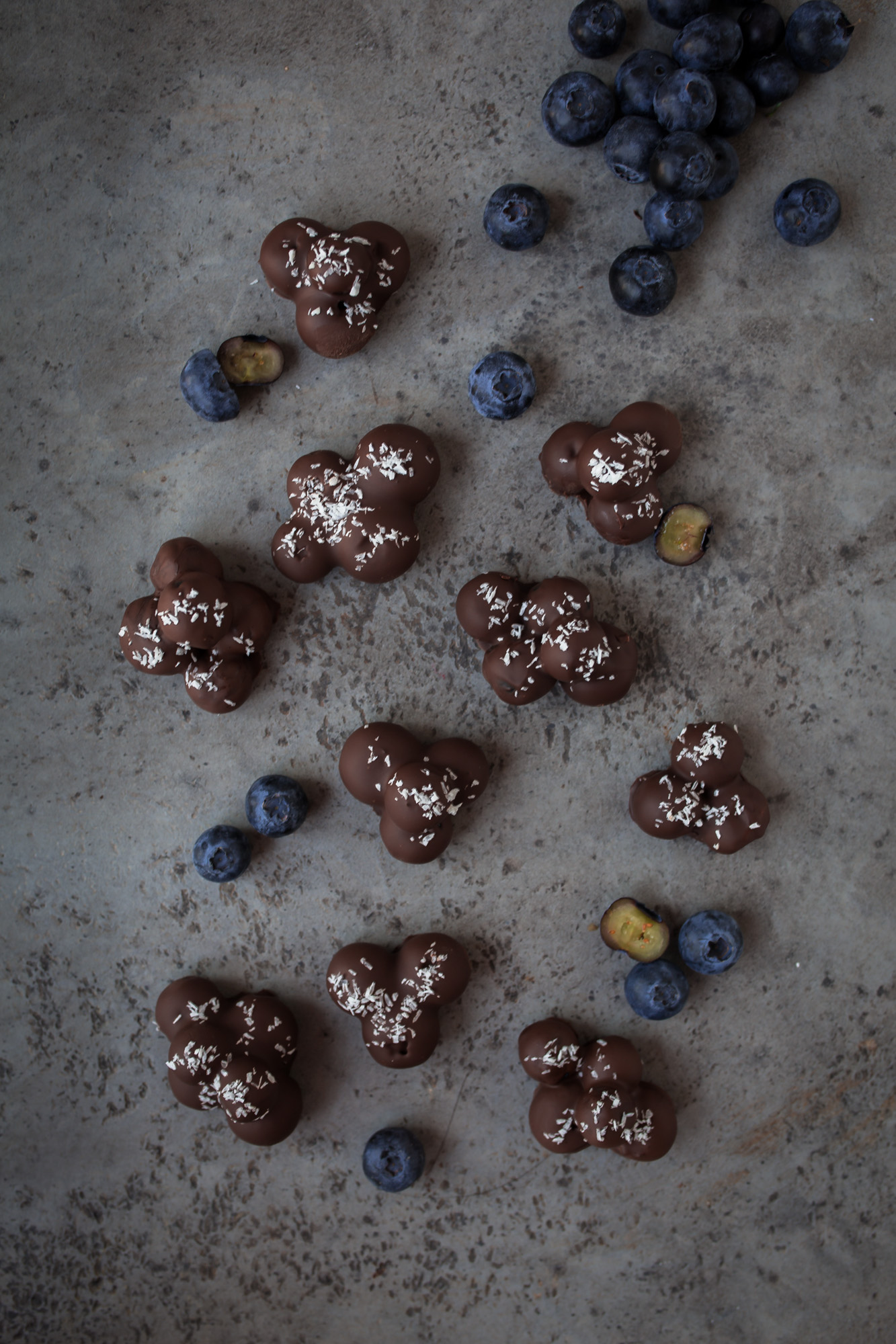 Blueberry Coconut Chocolate Clusters