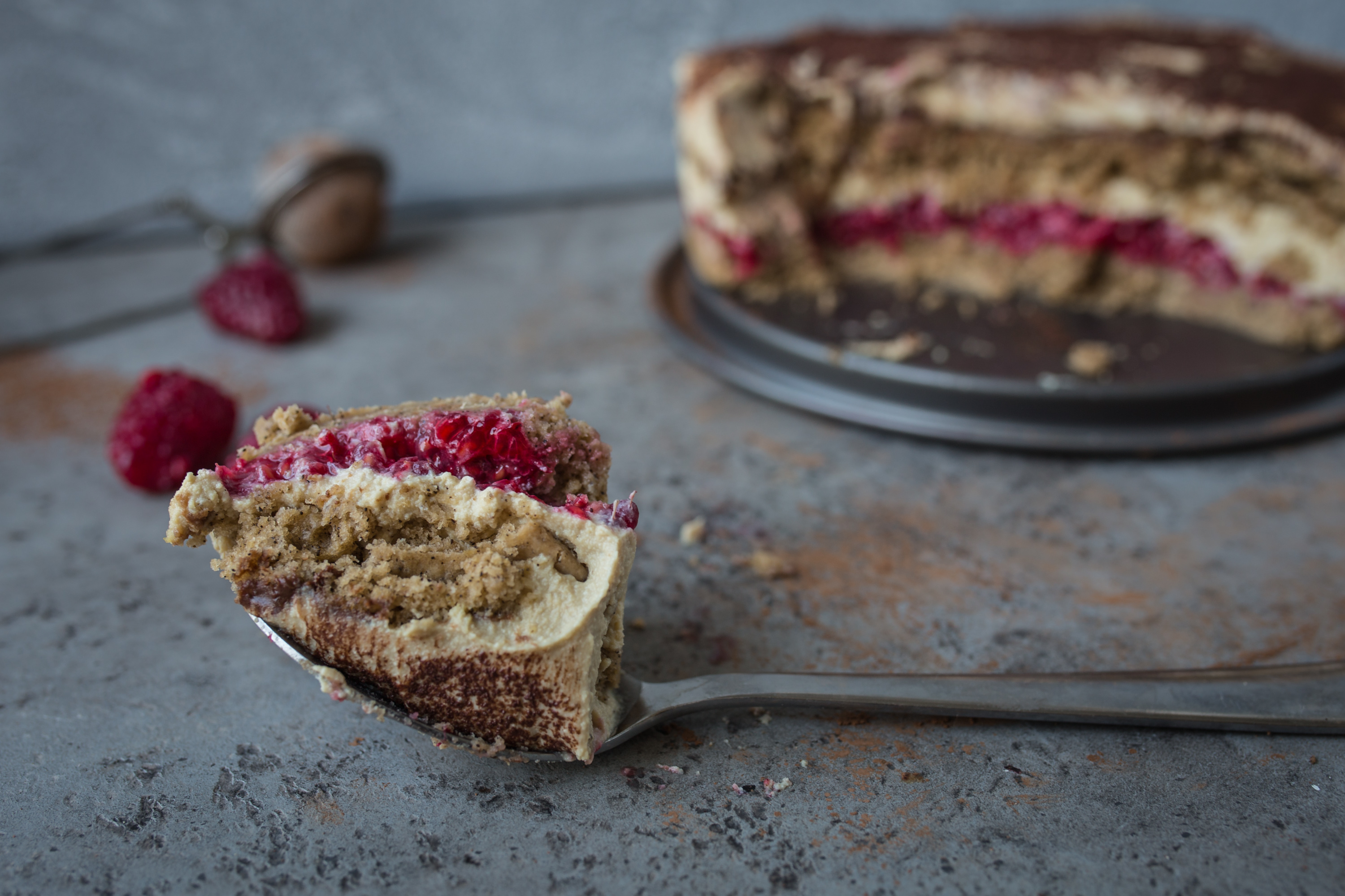 Light Raspberry Tofu Tiramisu
