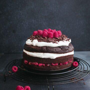 Vegan Black Forest Cake with Raspberries