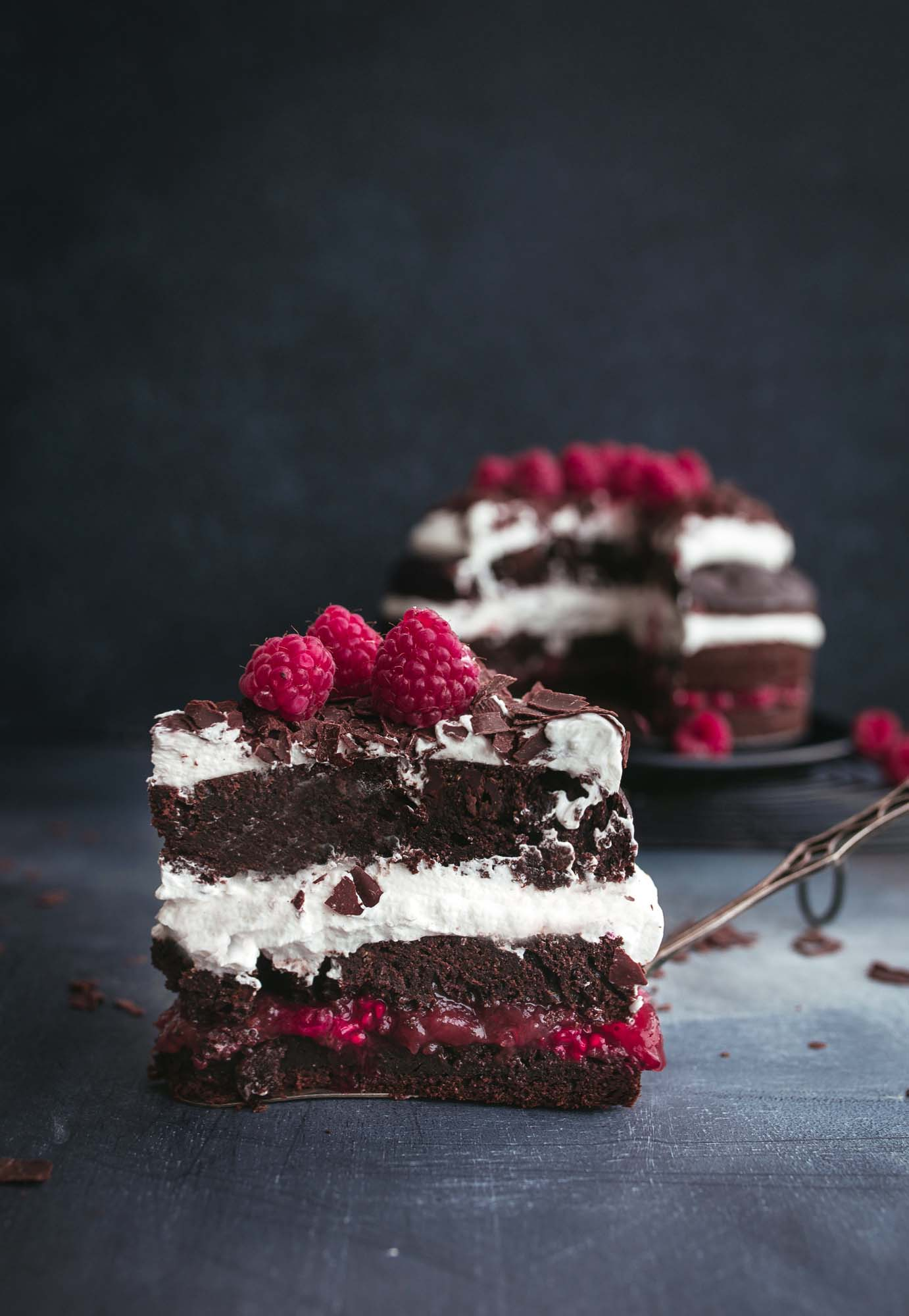 Vegan Black Forest Cake with Raspberries