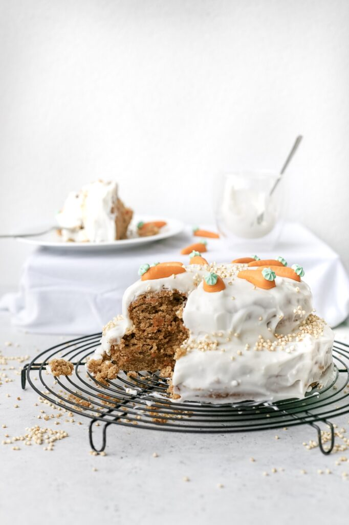 Healthy vegan Swiss carrot cake