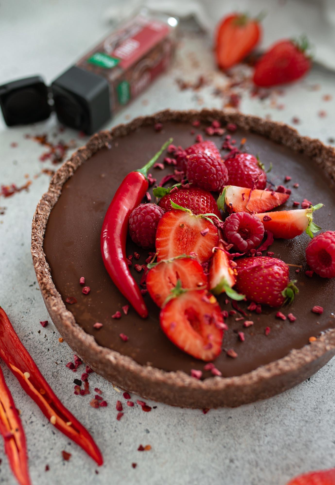 Vegane Chili-Schokoladen Tarte